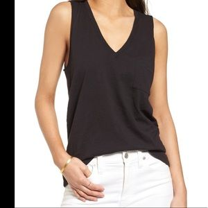 Madewell whisper cotton v neck tank top pocket
